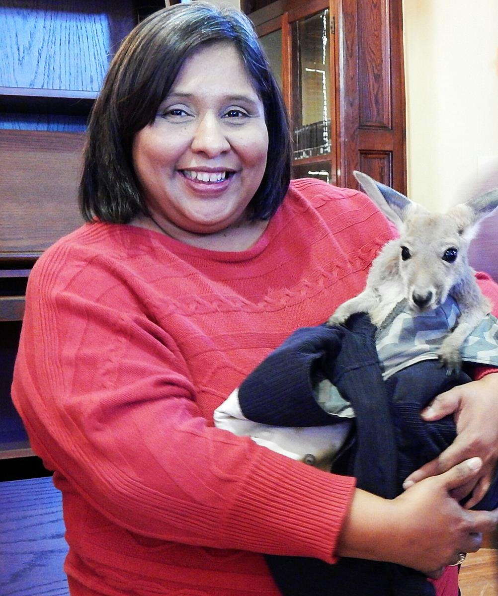 Director of Library Services, Bertha Martinez and Mr. Kangaroo,