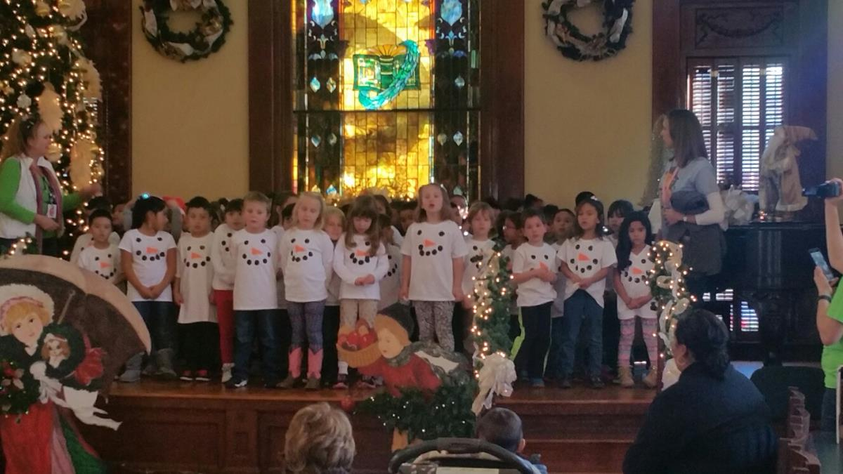 Elementary school singing during Dickens' Christmas in the Clark Library,